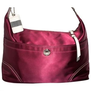 Coach Weekend Hampton Hobo Red Satin Purse Handbag